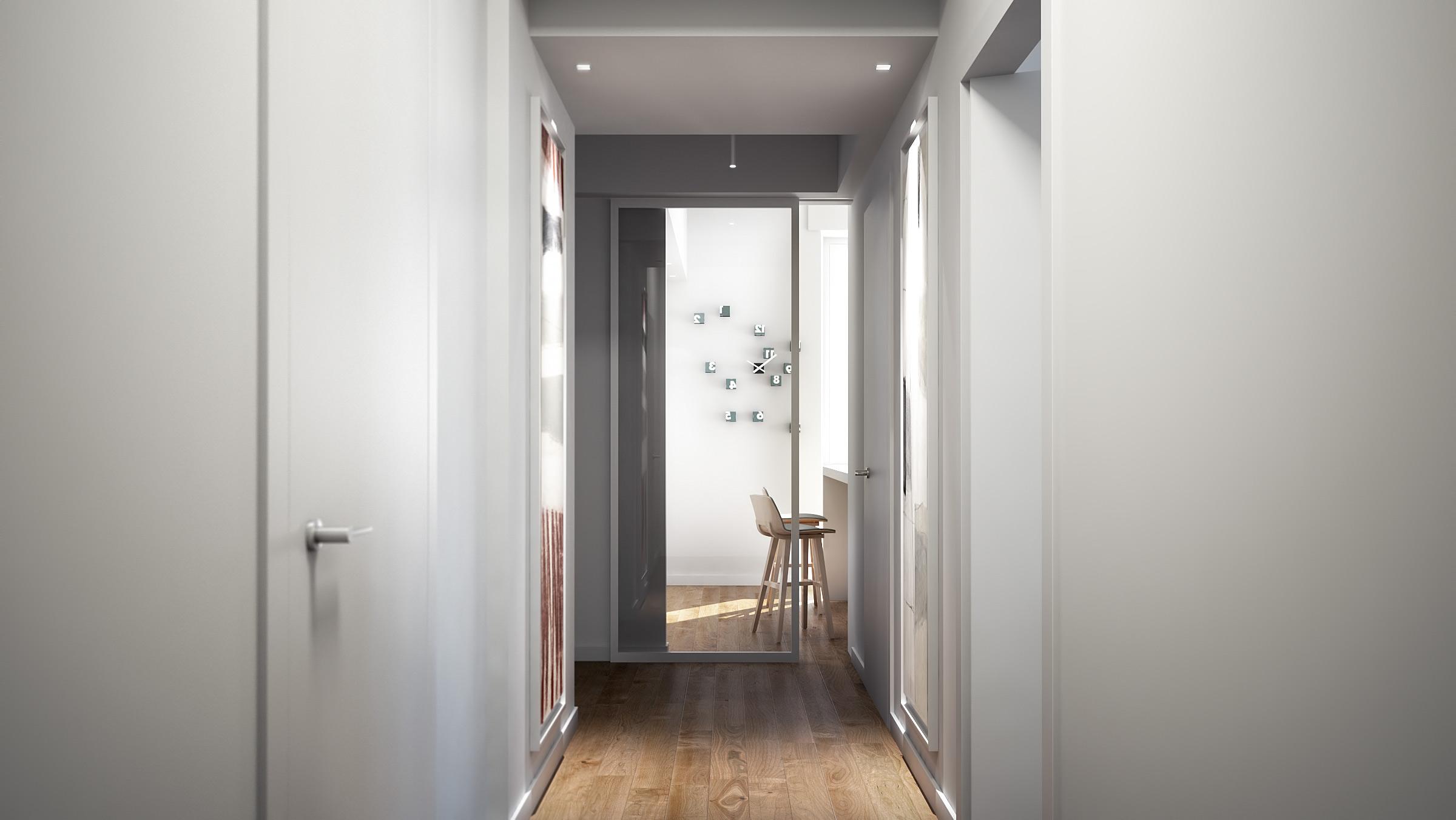render-abitazione-privata-brescia-corridoio-bianco-chiaro-parquet-rovere