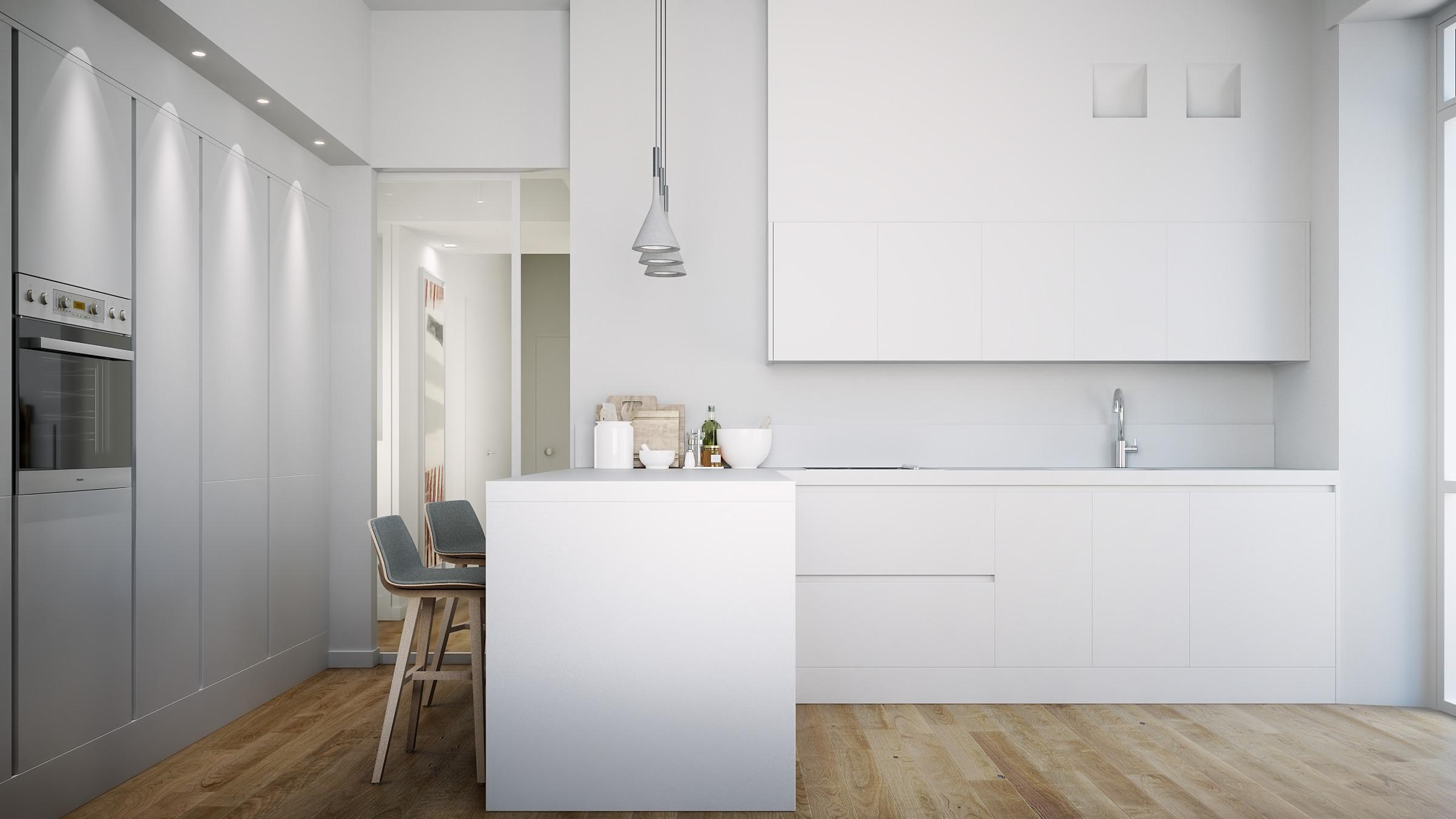 render-abitazione-privata-brescia-cucina-bianco-chiaro-parquet-rovere