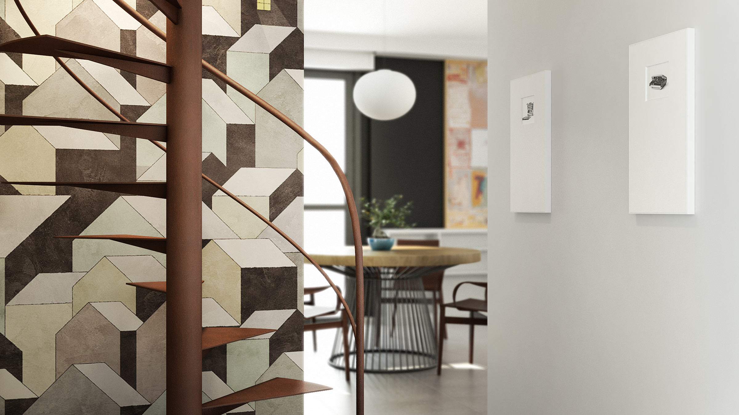 render-abitazione-scala-chiocciola-corten-carta-parati-spiral-staircase