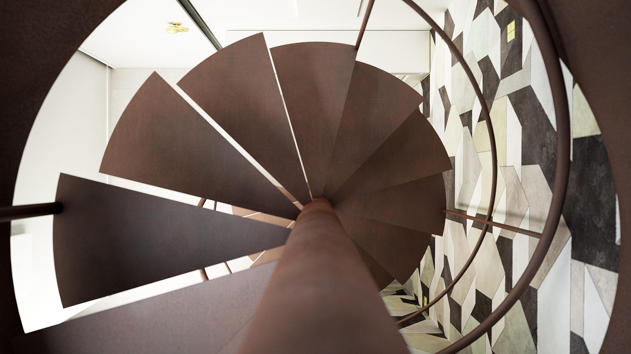 render-abitazione-scala-chiocciola-spiral-staircase