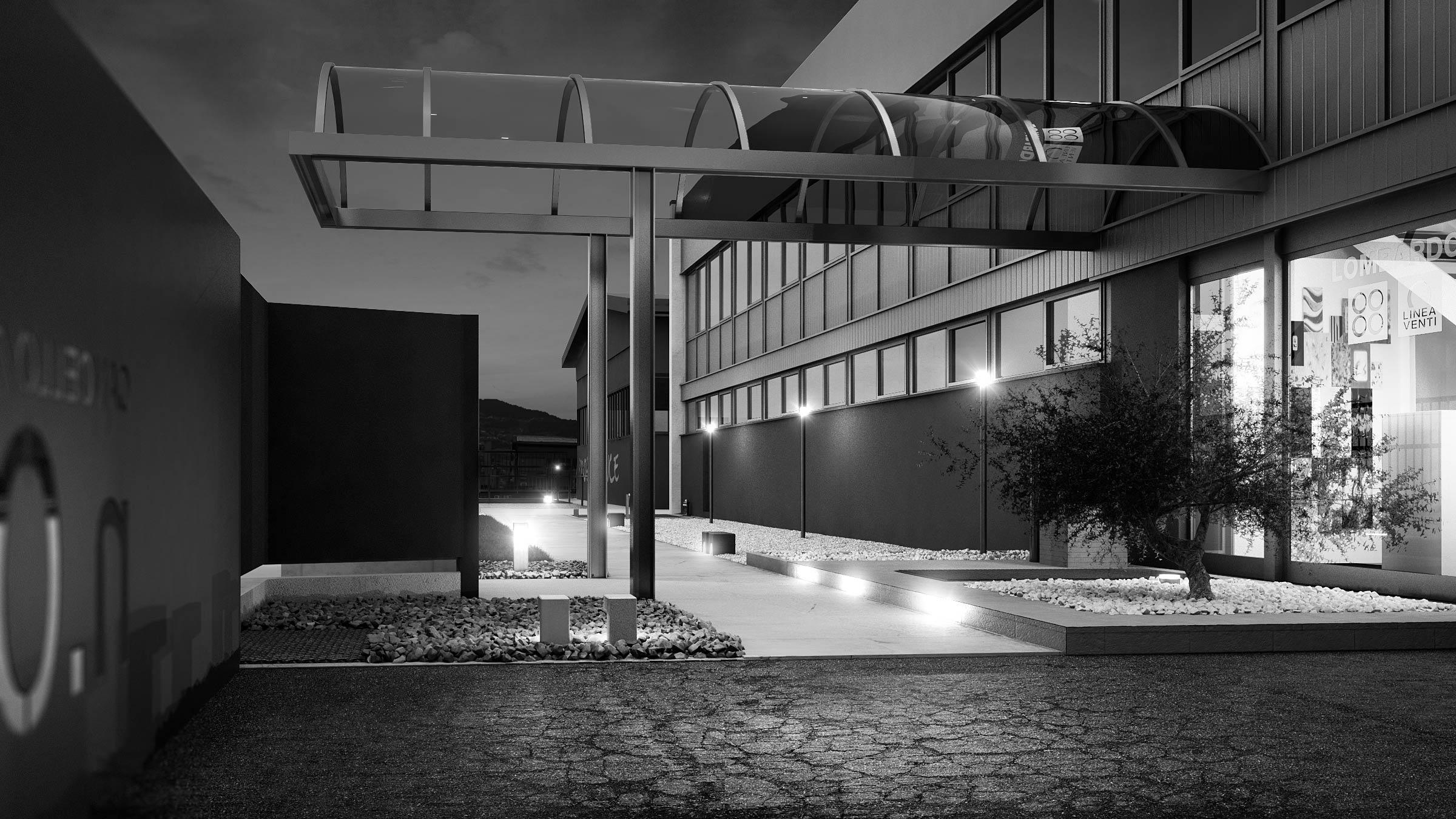 render-lombardo-bergamo-progetto-luce-illuminazione-esterno-notte-bianco-nero-light-design