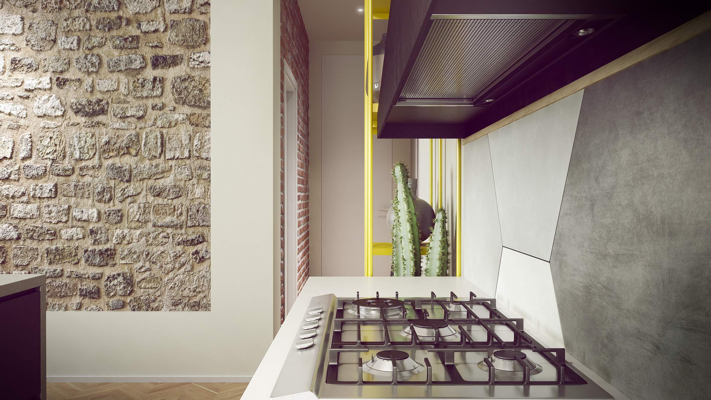 render-progetto-abitazione-privata-cucina-living-room-parquet-ferro-pietra-stone-kitchen-yellow