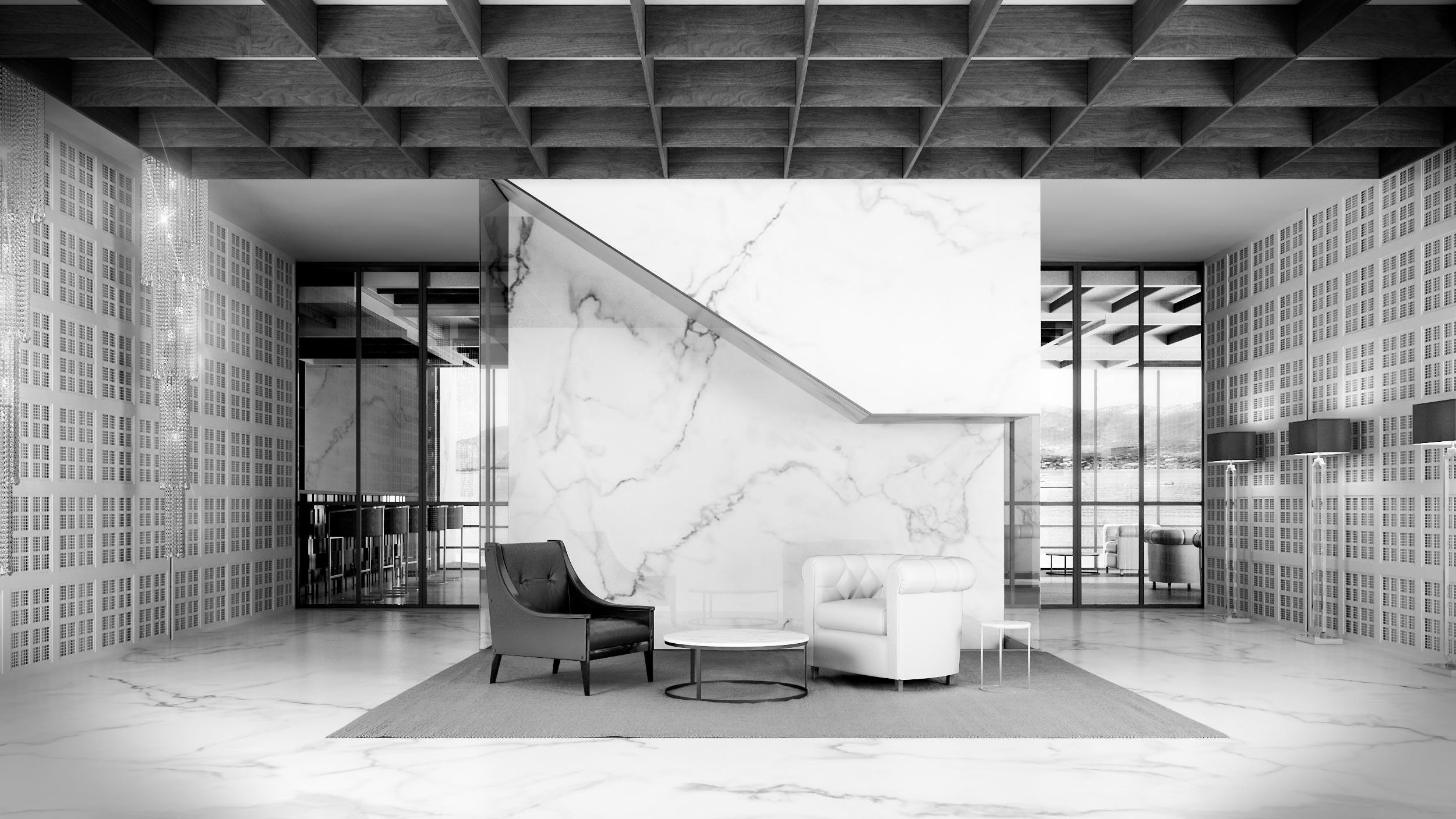 render-progetto-hotel-sirmione-brescia-lago-bar-marmo-bianco-nero-black-white