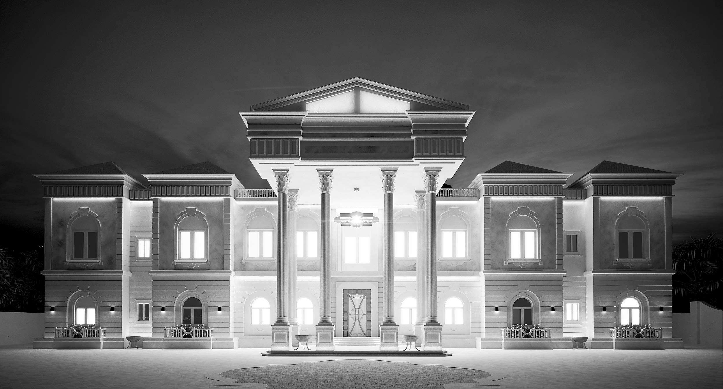 render-qatar-abitazione-privata-villa-illuminazione-notturna-night-classic