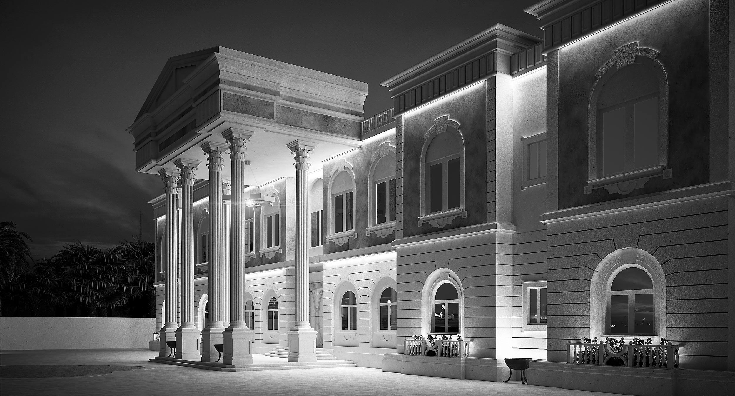 render-qatar-abitazione-privata-villa-outdoor-esterno-illuminazione-notturna-night-classic
